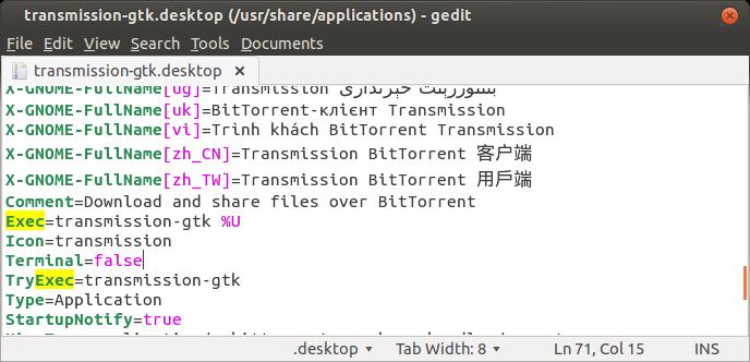 Exec line from .desktop file
