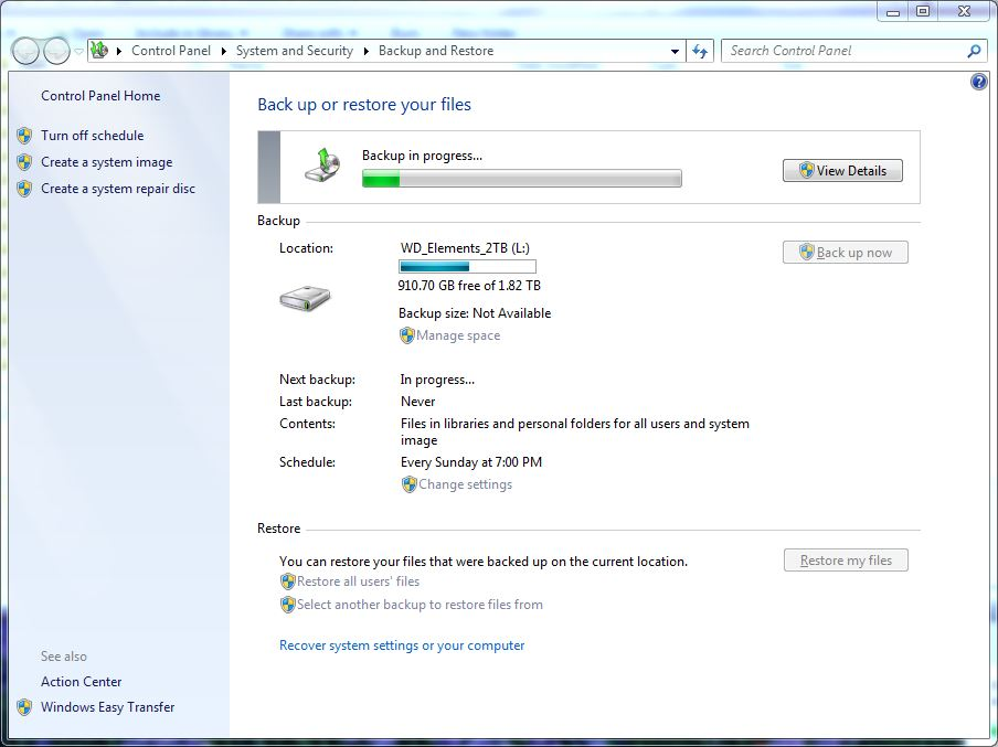 Backing up System Image. It pays to be prepared.